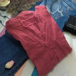 Red Cherokee tunic style button down blouse